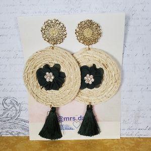 boho Natural Palm Hand Woven studs Earrings